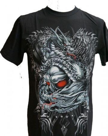 Silver Dragon Crushing Red Eyed Skull T Shirts With Large Colour Back Print